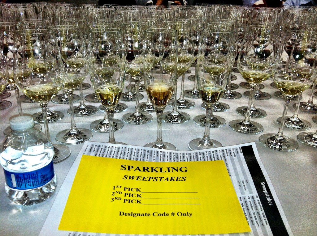 The San Francisco Chronicle Wine Competition staff begins setting up for the sweepstakes four days in advance. Each judge for the 2013 sweepstakes sat down to samples of 82 wines, each having been voted best of class during the course of three days. (Photo by Eric Degerman)
