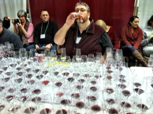 Andy Perdue begins judging the sweepstakes portion of the 2013 San Francisco Chronicle Wine Competition on Jan. 11. (Photo by Eric Degerman)