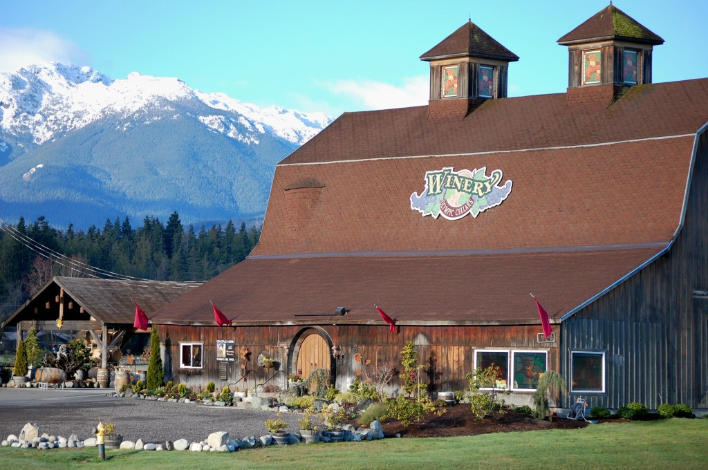 Olympic Cellars Winery near Port Angeles, Wash., features a historic barn in the shadows of the Olympic Mountains. (Photo courtesy of Olympic Cellars Winery)