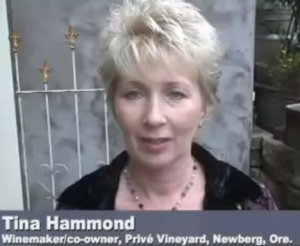 Tina Hammond is the winemaker and co-owner of Privé Vineyard in Newberg, Ore.