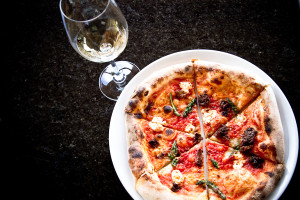 Jeff Van Geest's wood-fired flatbreads are among the featured iteams at Miradoro Restaurant in Oliver, British Columbia. (Courtesy of Tinhorn Creek Vineyards)