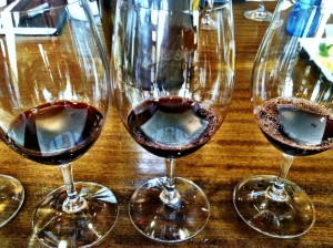 A flight of Merlot from the 1987, 1992 and 1994 vintages are poured at Waterbrook Winery in Walla Walla, Wash.