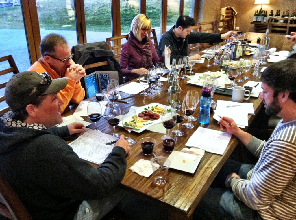 Founding winemaker Eric Rindal joins members of Waterbrook Winery and Precept Wine in a library tasting Feb. 6, 2013 in Walla Walla, Wash.