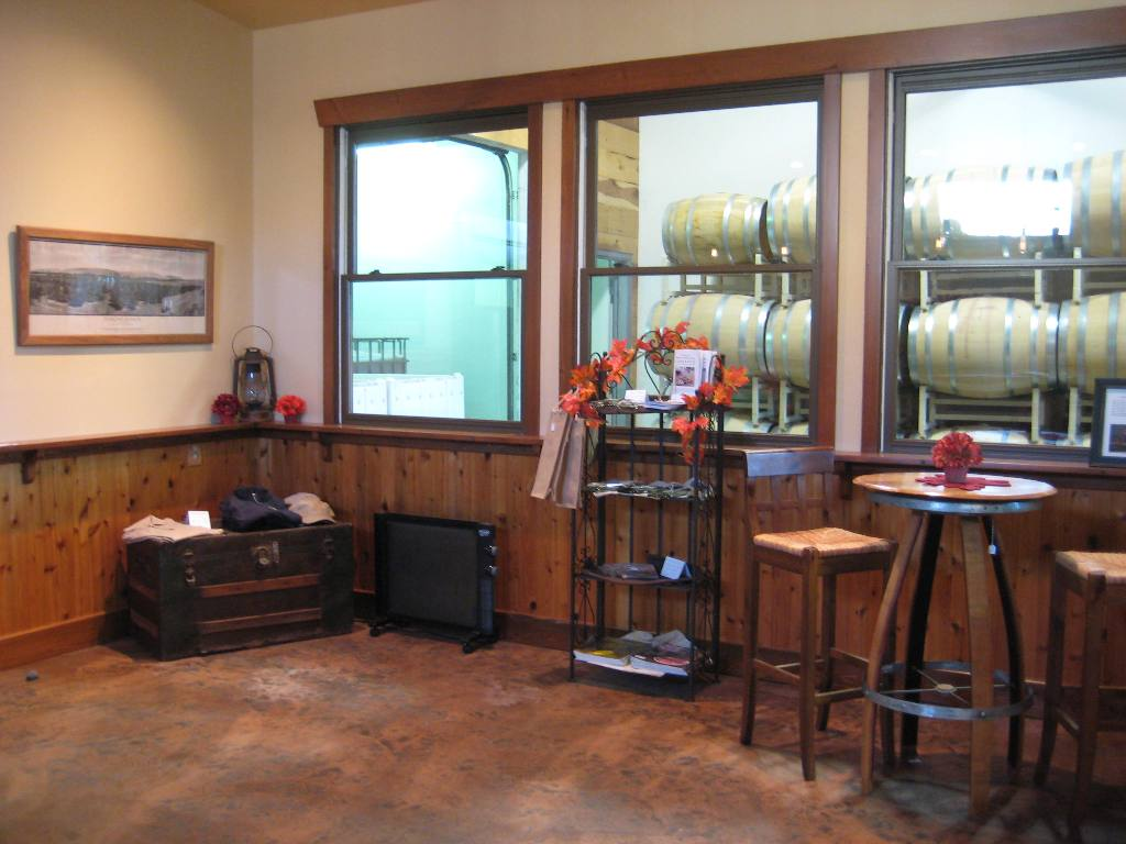 Windows overlooking the Dumas Station wine production facility_web