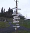 The signpost at Abacela in Roseburg, Ore., gives visitors an indication how far away from home they are. (Photo by Eric Degerman/Great Northwest Wine)