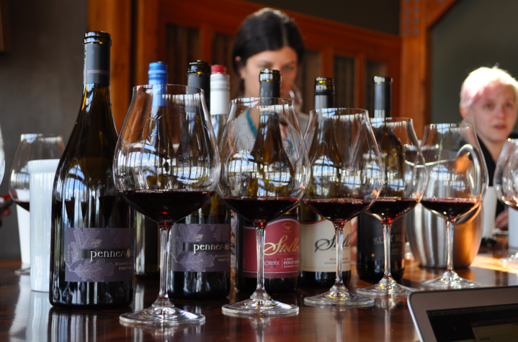 Melissa Burr, head winemaker of Stoller Family Vineyards in Dundee, Ore., tastes during a recent roundtable discussion among female winemakers. (Photo courtesy of Katie Bray/Watershed Communications)