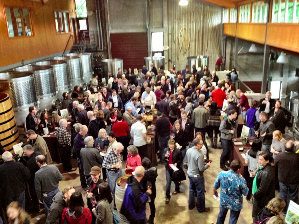 The production floor of Penner-Ash Wine Cellars turns into a festival for devotees of Shea Vineyard Pinot Noir. (Eric Degerman/Great Northwest Wine)