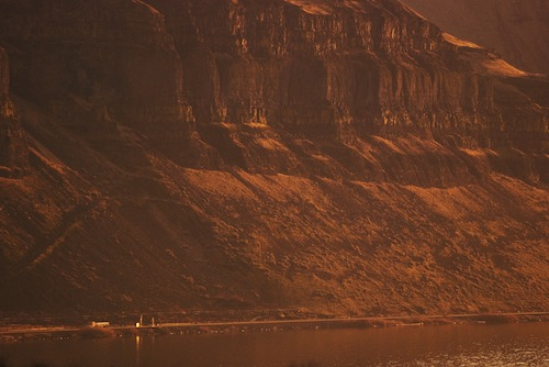 Basalt columns rise several hundred feet above the Columbia River in the Walula Gap, where the Ice Age Floods flowed through some 15,000 years ago. (Photo via Flickr, click for credit)