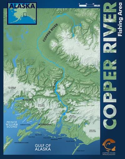 Map of Alaska's famed Copper River. (Courtesy of Copper River Marketing)