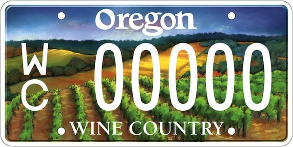 Oregon's Wine Country license plate, the first of its kind in the country, is the second-most popular plate in the state. (Photo courtesy of Oregon DMV)