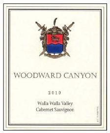 Woodward Canyon 2010 Cab label