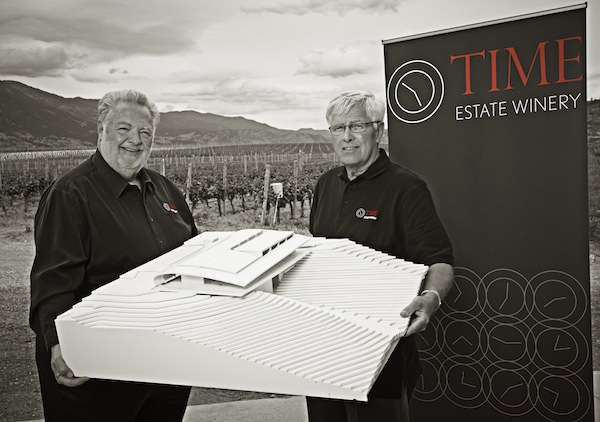 Harry McWatters, left, and renowned viticulturalist Dick Cleave are holding the model for their Time Estate Winery in Oliver, British Columbia. The wines will be made from their estate Sundial Vineyard, which Cleave and McWatters planted on Canada's famed Black Sage Bench in 1993. (Photo by Lionel Trudel/Courtesy of Time Estate Winery)