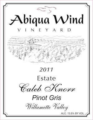 Abiqua Wind is a small winery west of Salem, Oregon