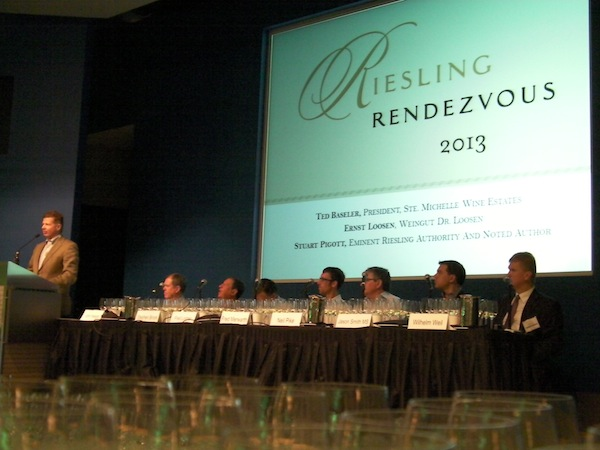 Ted Baseler, President/CEO of Ste. Michelle Wine Estates, presents the opening remarks for the 2013 Riesling Rendezvous, an international conference in Seattle.