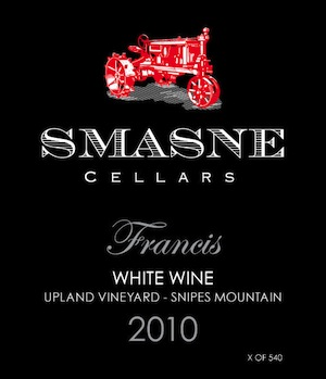 Smasne Cellars has crafted a tasty white blend called Francis.