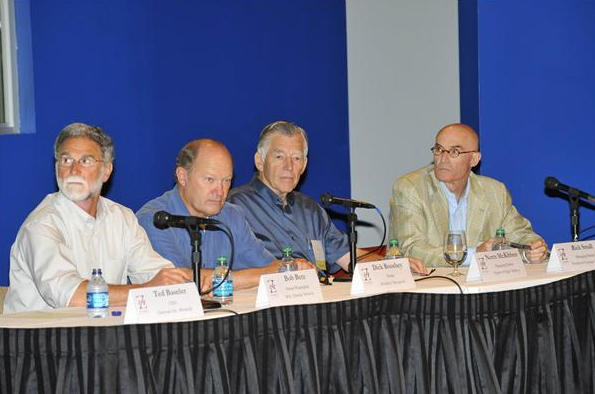 Washington wine industry icons Bob Betz, Dick Boushey, Norm McKibben and Rick Small served as panelists at the ZINO Society Vino Forum in 2010.