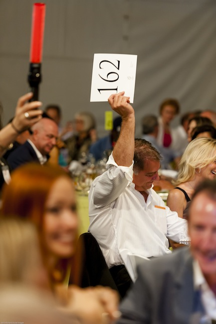 The live portion of the 2013 Auction of Washington Wines, held at Chateau Ste. Michelle in Woodinville, Wash, helped raise more than $2 million for Children's Hospital and the Washington State University's viticulture and enology program. (Photo by Richard Duval/Courtesy of Auction of Washington Wines)