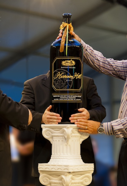 This 18-liter bottle of 2010 DeLille Cellars Harrison Hill was featured during the live portion of the 2013 Auction of Washington Wines, held at Chateau Ste. Michelle in Woodinville, Wash. More than $2 million was raised for Children's Hospital and the Washington State University's viticulture and enology program.