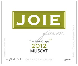 JoieFarm produces this dry Muscat from its winery on the Naramata Bench in British Columbia's Okanagan Valley.