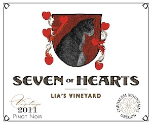 Seven of Hearts is a winery in Carlton, Oregon, and Lia's Vineyard is in the Chehalem Mountains.