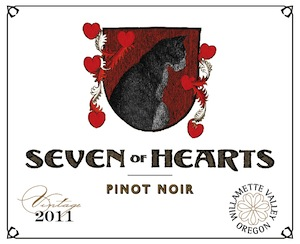 Seven of Hearts Pinot Noir is a blend of five sub-appellations of the northern Willamette Valley.