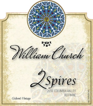 William Church Winery's 2 Spires is a red blend of Syrah and Cabernet Sauvignon.