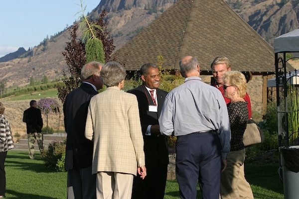 Elson S. Floyd, President of Washington State University, attends a WSU Alumni Association event at St. Laurent Estate Winery in Malaga, which is operated by WSU grads and a member of the Wine-by-Cougs wine club.