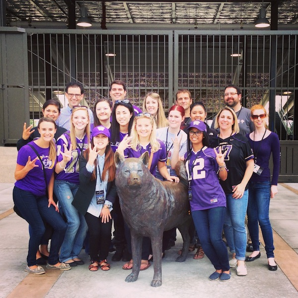 Members of Precept Wine's team got a sneak peek at the remodeled Husky Stadium earlier this summer. The Seattle-based company is dominated by University of Washington grads, including CEO Andrew Browne, back left.
