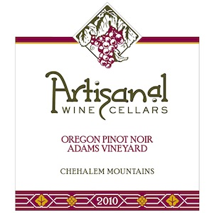 Artisanal Wine Cellars 2010 Adams Vineyard Pinot Noir