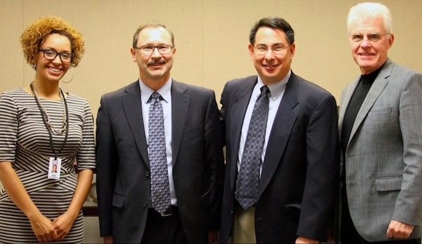The Oregon Liquor Control Commission named Steven Marks, second from left, as its new executive director on Oct. 24, 2013 in Portland. The three commissioners are, from left, Pamela Weatherspoon, chair Rob Patridge, and Bob Rice. (Photo courtesy of OLCC)