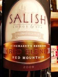 The Salish Lodge & Spa Reserve Red from Red Mountain is made by Terra Blanca Vineyards & Estate Winery in Benton City, Wash.