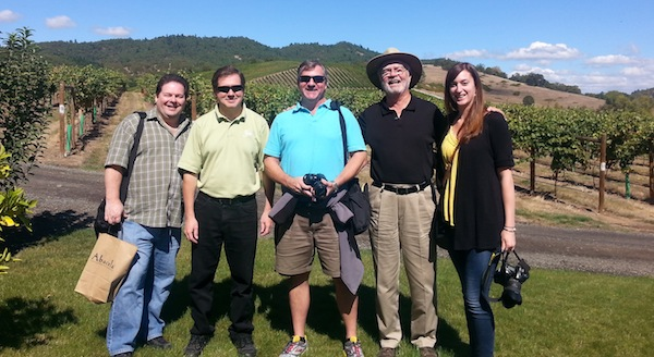 Earl Jones, in his trademark hat, often plays host to trade missions and media tours at Abacela. This group includes wine writer Richard Auffrey, winemaker Pat Spangler of nearby Spangler Vineyards, wine writer Michael Cervin and wine writer Erin Gunther.