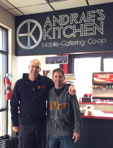 Andrae's Kitchen owner/chef Andrae Bopp, left, and Trey Busch, winemaker for Sleight of Hand Cellars in Walla Walla, will be attending Sunday's NFC Championship Game in Seattle after trading a winemaker dinner for two tickets.
