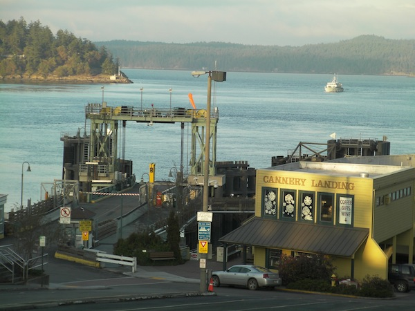The ferry dock at Friday Harbor on San Juan Island is a 15-minute drive from San Juan Vineyards.