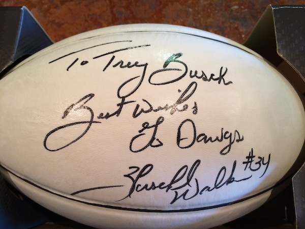 A personalized football by Heisman Trophy winner Herschel Walker, a University of Georgia great, is one of Trey Busch's prized possessions. The Walla Walla winemaker attended UGA.