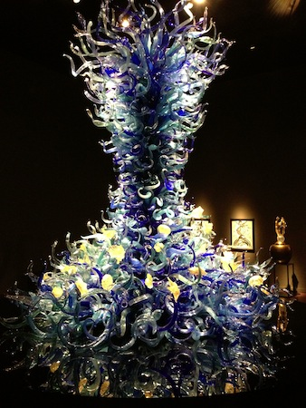 'A Tower' is the featured display within the Sealife Room of the Chihuly Garden and Glasshouse exhibit at Seattle Center.