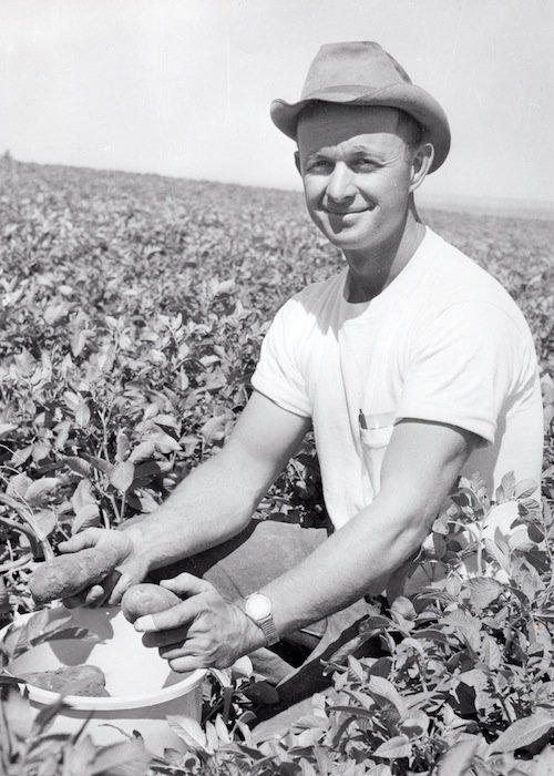 Bud Mercer is pictured in his younger days on the family farm in Washington state.