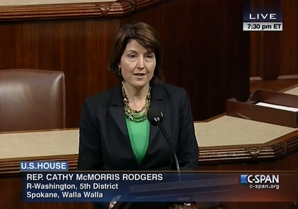 Congresswoman Cathy McMorris Rodgers represents Washington state's 5th District in Washington, D.C. She took to the floor of the House of Representatives on Wednesday, Feb. 12, 2014, to recognize the 30th anniversary of the federal government establishing the Walla Walla Valley as an American Viticultural Area.