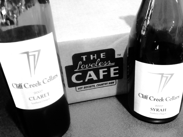The Loveless Cafe bacon with Cliff Creek Cellars wine