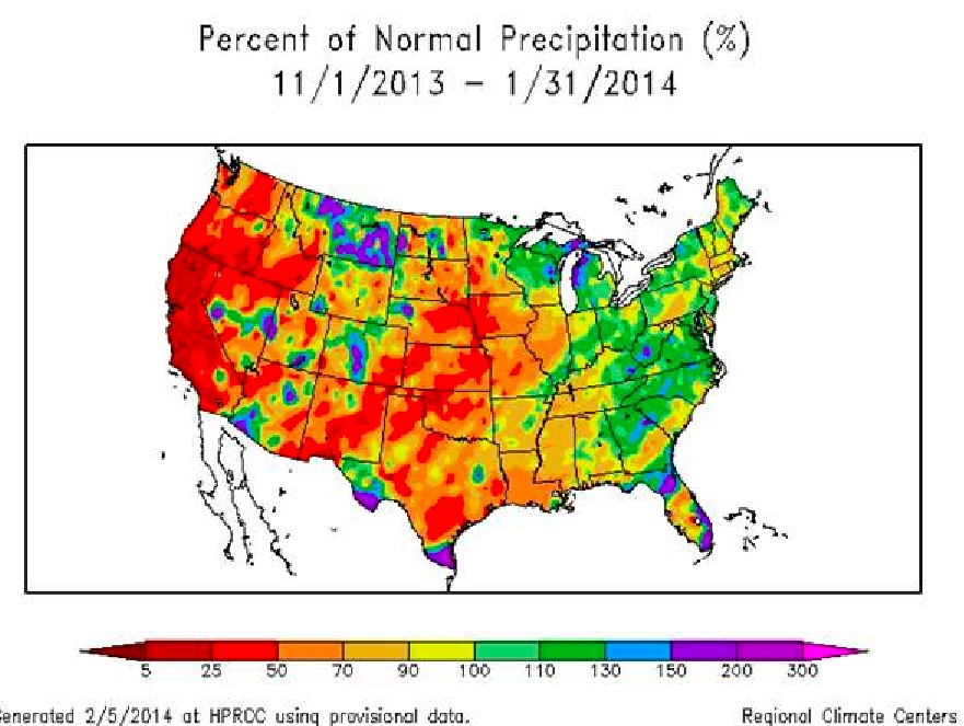 The regional Climate-Centers shows the percent at well less than normal-precipitation.