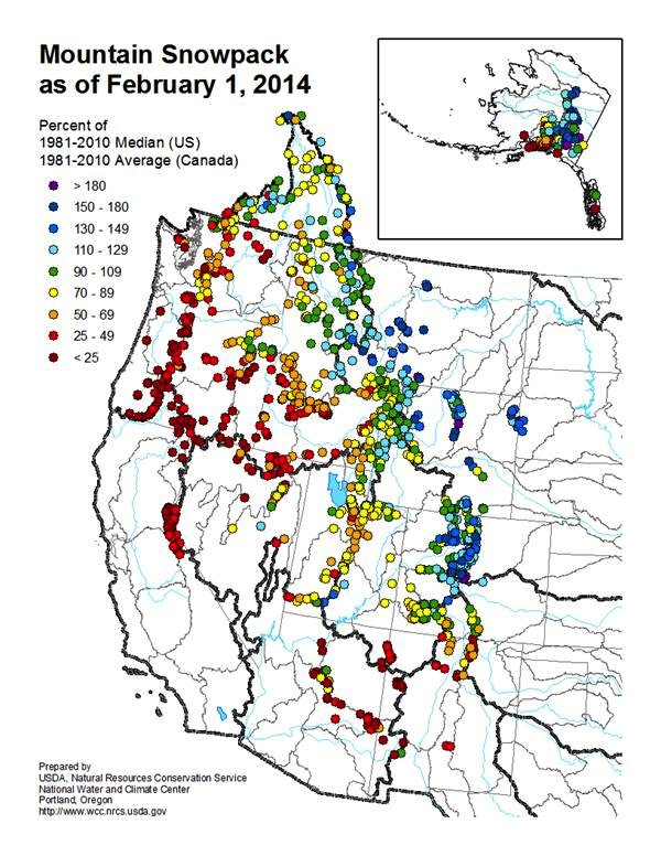 The USDA Natural Resources Conservation Service and the National Water and Climate Center collaborated on this recent map of mountain snowpack.
