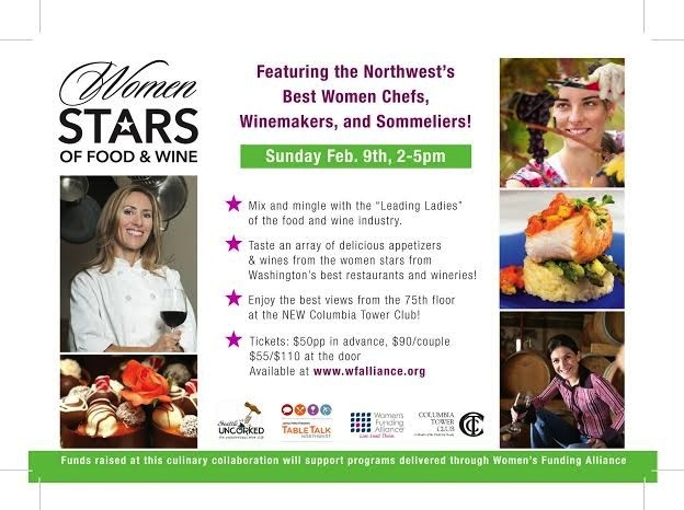 The inaugural Women Stars of Food and Wine will be staged Sunday, Feb. 9 at the Columbia Tower Club in Seattle.