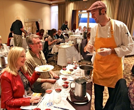 David Beaudoin with Dairy Farmers of Canada helps lead a wine-and-cheese seminar.