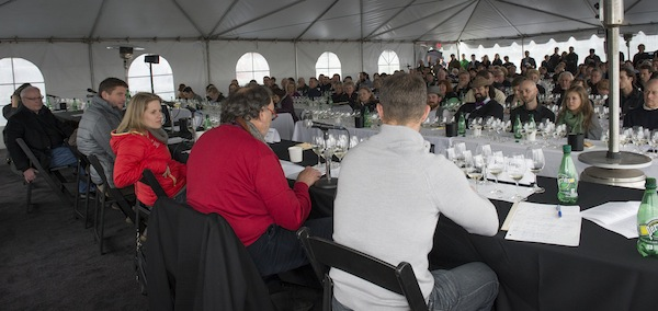 Wynne Peterson-Nedry of Chehalem Wines listens to Doug Tunnell of Brick House Vineyards during the third annual Oregon Chardonnay Symposium on March 8, 2014 at Stoller Family Estate in Dayton.