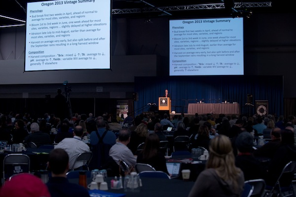 Greg Jones, an environmental studies professor at Southern Oregon University, makes his annual presentation to the Oregon wine industry at the 2014 Oregon Wine Symposium in Portland.
