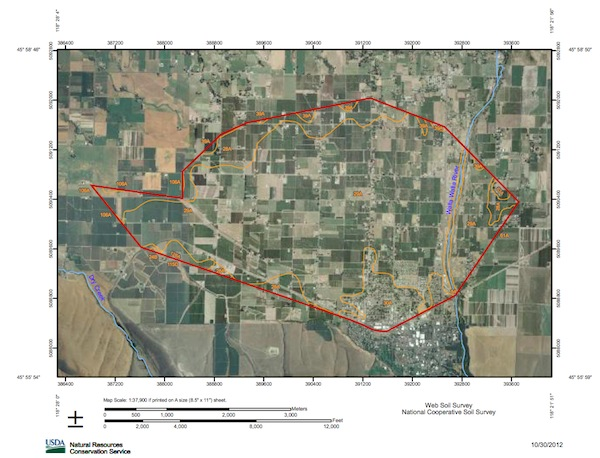 This U.S. Department of Agriculture map shows where the proposed The Rocks District of Milton-Freewater American Viticultural Area in Oregon has been drawn. The city of Milton-Freewater is in the lower right-hand portion of the map, west of the Walla Walla River, which is responsible for the alluvial fan of cobblestones.
