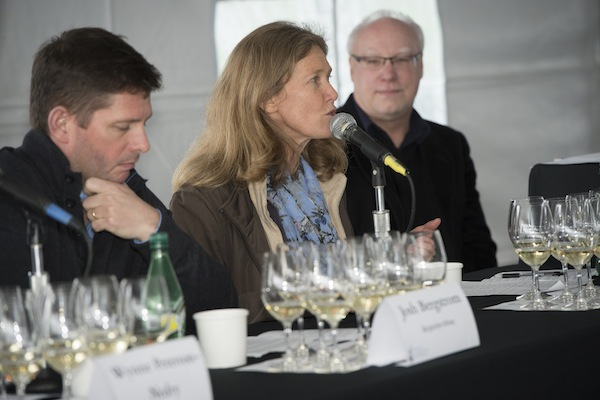 Véronique Drouhin of Domaine Drouhin Oregon shares her thoughts on Chardonnay as Josh Bergstrom of Bergstrom Wines, left, and moderator Cole Danehower listen on during the third annual Oregon Chardonnay Symposium on March 8, 2014 at Stoller Family Estate in Dayton.