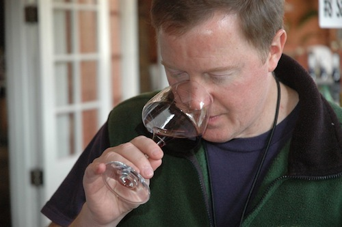 Eric Degerman tastes wine blind during a wine competition.