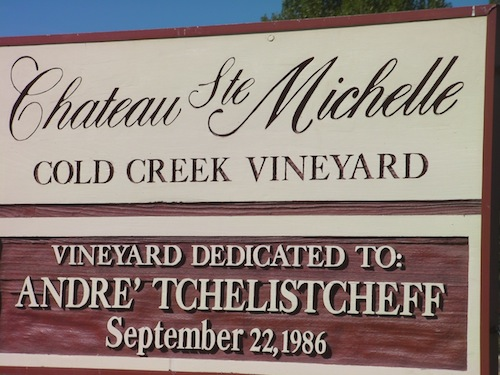 Cold Creek Vineyard, owned by Chateau Ste. Michelle, is dedicated to André Tchelistcheff.