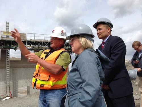 U.S. Sen. Patty Murray tours the WSU Wine Science Center construction site in Richland, Washington.